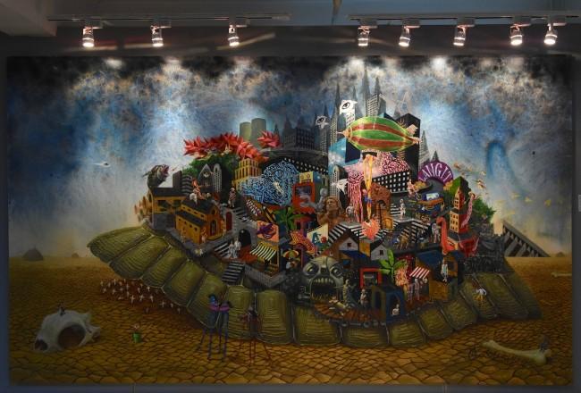 'Ang Patuloy na Pag-usad ng Lipunang May Sayad' by SANGVIAJE artists Daniel Aligaen, John Paul Antido, Edrick Daniel, Dennis Fortozo, Guerrero Habulan, Joven Mansit, Jaypee Samson, and Pogs Samson. Photo by Peter C. Marquez, InterAksyon.