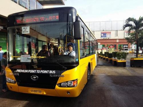 A P2P bus prepares to leave from Robinsons Novaliches for the long - but comfortable - ride to Makati CBD. HANDOUT PHOTO
