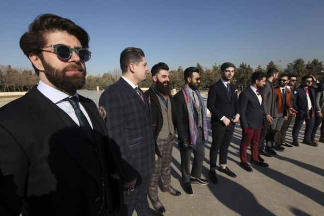 "Members of ""Mr Erbil"", a group consisting of young fashionable Kurdish men, pose in Erbil, Iraq February 4, 2017. According to its members, Mr Erbil is the first ''gentlemen's club'' in the region, and members regularly gather for photoshoots wearing outfits to promote the creations of local craftsmen. REUTERS/Azad Lashkaril."