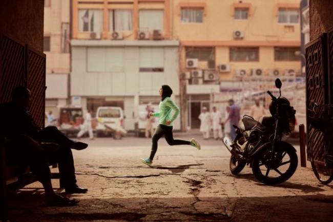 Zahra Lari runs in a scene shot for the Nike Middle East ad campaign filmed in Dubai, UAE, February 10, 2017. Picture taken February 10, 2017. Nike/Handout via REUTERS