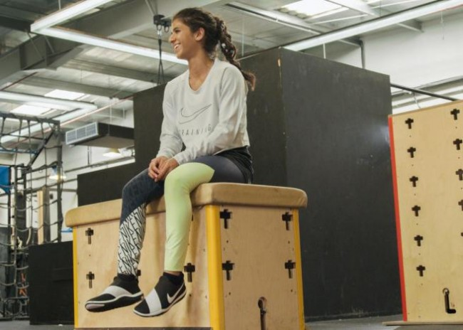 Amal Mourad, parkour trainer, looks on in a scene shot for the Nike Middle East ad campaign filmed in Dubai, UAE, in this undated handout photo. Nike/Handout via REUTERS