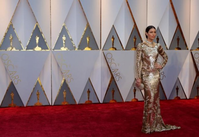 At the 89th Academy Awards, actress Jessica Biel arrives at the red carpet of the event in Hollywood, California, February 26, 2017 (US time). REUTERS/Mike Blake.