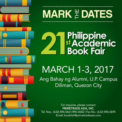 Top sellers of academic books gather at the 21st edition of the fair, March 1 to 3, 2017. Image source: @philacadbookfair/Facebook.