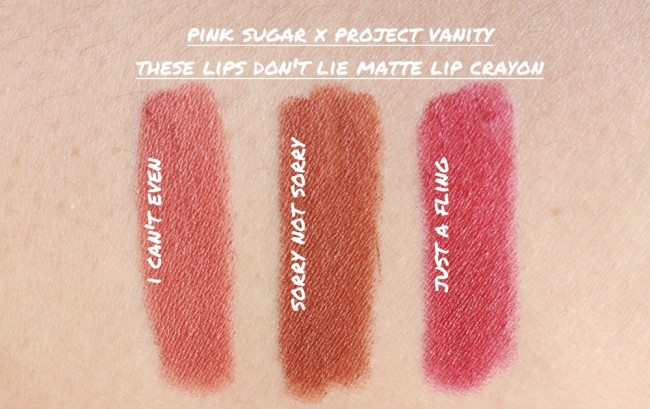 Swatches of the latest Project Vanity x Pink Sugar collaboration. Photo borrowed from projectvanity.com.