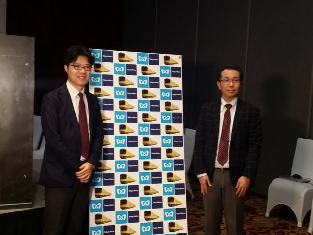 Atsushi Kamimura, manager for demand generation and Eiji Souri, manager for public relations of Tokyo Metro during a press conference held at City of Dreams in Paranaque City. Photo by Romsanne Ortiguero, InterAksyon.
