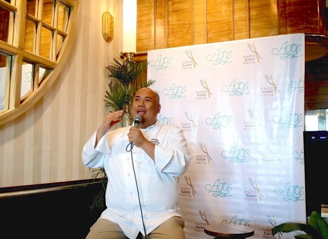 """In his Agos restaurant in Mall of Asia, Pasay City, Chef Myke """"Tatung"""" Sarthou recalls his talk on  Philippine salt and Mindanao cuisine during the recently concluded Madrid Fusion in Spain last January. Photo by Romsanne Ortiguero, InterAksyon"""