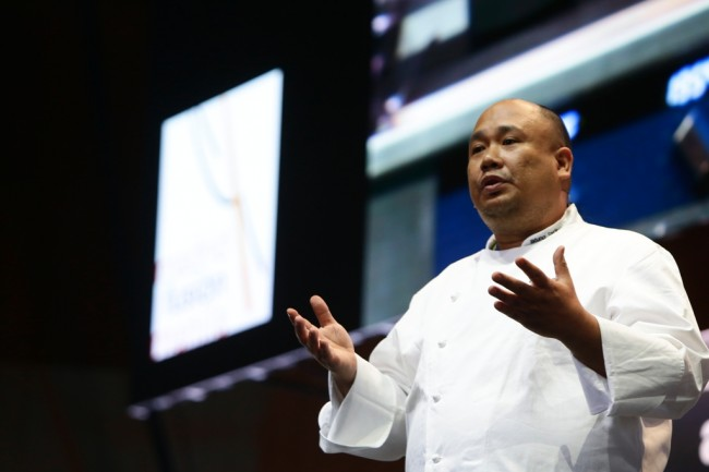 Chef Sarthou talking about Philippine salt during the Asisa Madrid Fusion 2017 last January. Photo courtesy of Chef Sarthou.