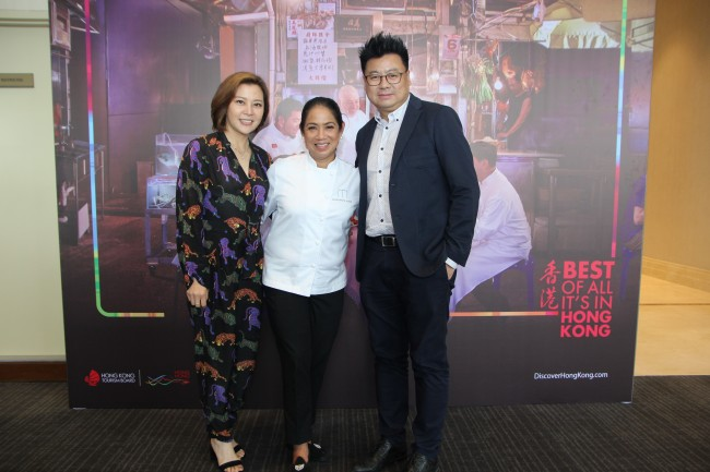 Becky Ip, Deputy Executive Director of Hong Kong Tourism Board, Chef Margarita Fores, Asia's Best Female Chef for 2016, Simon Wong, Regional Director SEA Hong Kong Tourism Board at the Philippine launch of HKTB's newest global marketing campaign videos, January 24, 2017. Photo courtesy of HKTB.