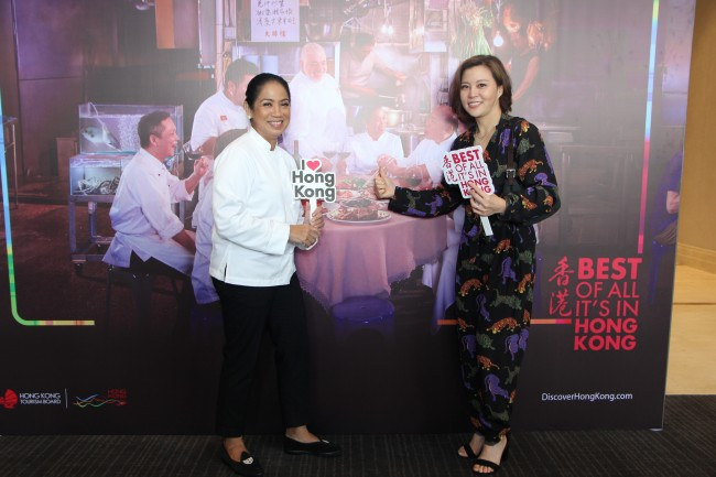 Chef Margarita Fores of the Philippines with Becky Ip, Deputy Executive Director of Hong Kong Tourism Board (HKTB), at the Manila launch of HKTB's newest global marketing campaign, January 24, 2017. Photo courtesy of HKTB.