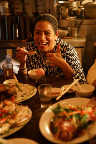 Chef Margarita Fores of the Philippines makes a guest appearance in Chef Umberto Bombana's video titled 'Tasting the Town' produced by the Hong Kong Tourism Board. Photo courtesy of HKTB.