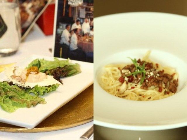 """Chef Margarita Fores' Crab Trio Sformato with Chinese Black Vinegar and Negros Muscovado Glaze (left photo) and (right) Handmade egg taglierini, Asian """"Bolognese."""" Photos courtesy of HKTB."""