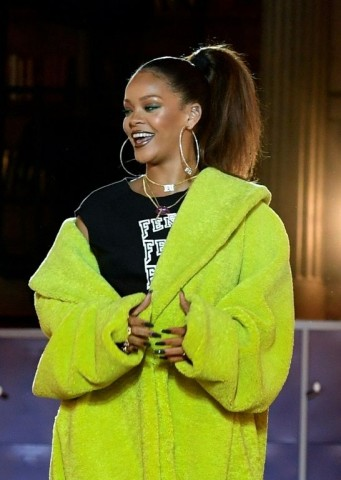 Rihanna on the catwalk after her Fenty show. Photo by Alain Jocard/AFP.