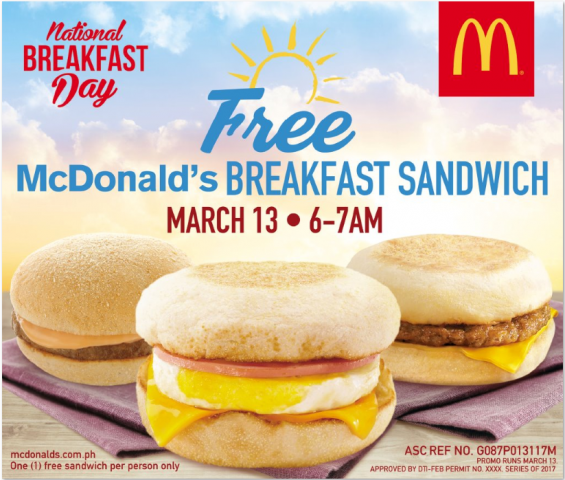 Treat yourself to a free McDo breakfast sandwich, from 6 a.m. to 2 a.m.. on National Breakfast Day, March `3, 2017. Photo courtsy of McDonald's.