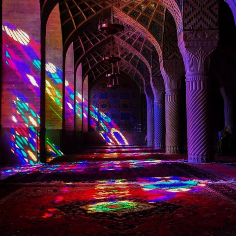 The interior of Pink Mosque in Shiraz, Iran charms any travelers. Photo by Jimmy Dau.