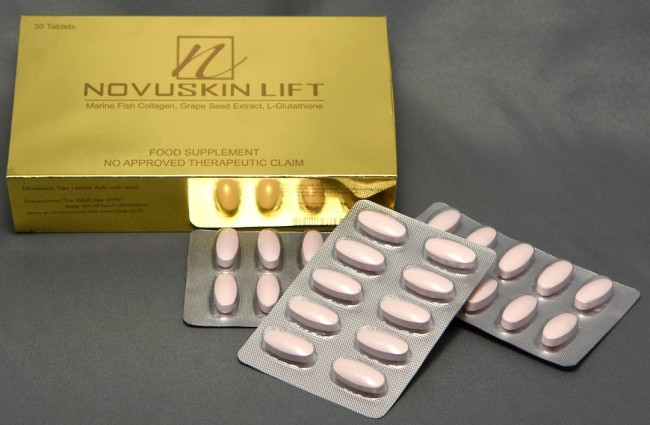 New Novuskin Lift is being positioned by its manufacturer, Naturamedica, as the gold standard in anti-aging supplements and consists of 18 natural anti-aging and skin brightening extracts with marine fish collagen, grape seed extract, and L-glutathione as its star components. Photo by Peter C. Marquez, InterAksyon.