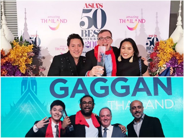 At Asia's 50 Best Restaurants awards night, (top photo) the Gallery Vask team from the Philippines, which was named No. 35, and (bottom photo) the Gaggan team led by Chef Gaggan Anand pose at gala event held in Bangkok, Thailand on February 21, 2017. Chow Buzz photos.