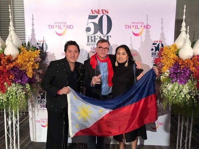 Gallery Vask's (from left) Juan Carlo Calma, Chele Gonzalez, and Paula Cortez win the No. 35 slot at the prestigious Asia's 5 Best Restaurants awards. The gala event was held  in Bangkok, Thailand on February 21, 2017. Chow Buzz photo for InterAksyon.