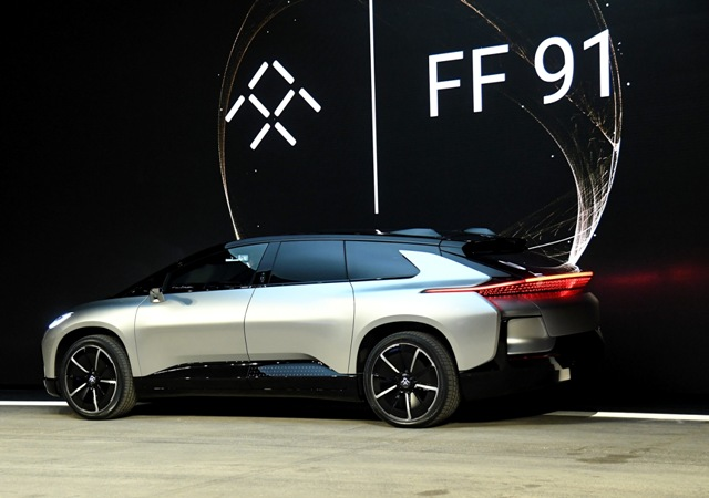 Faraday Future's FF 91 prototype electric crossover vehicle is unveiled during a press event for CES 2017 at The Pavilions in Las Vegas, Nevada. AFP file photo
