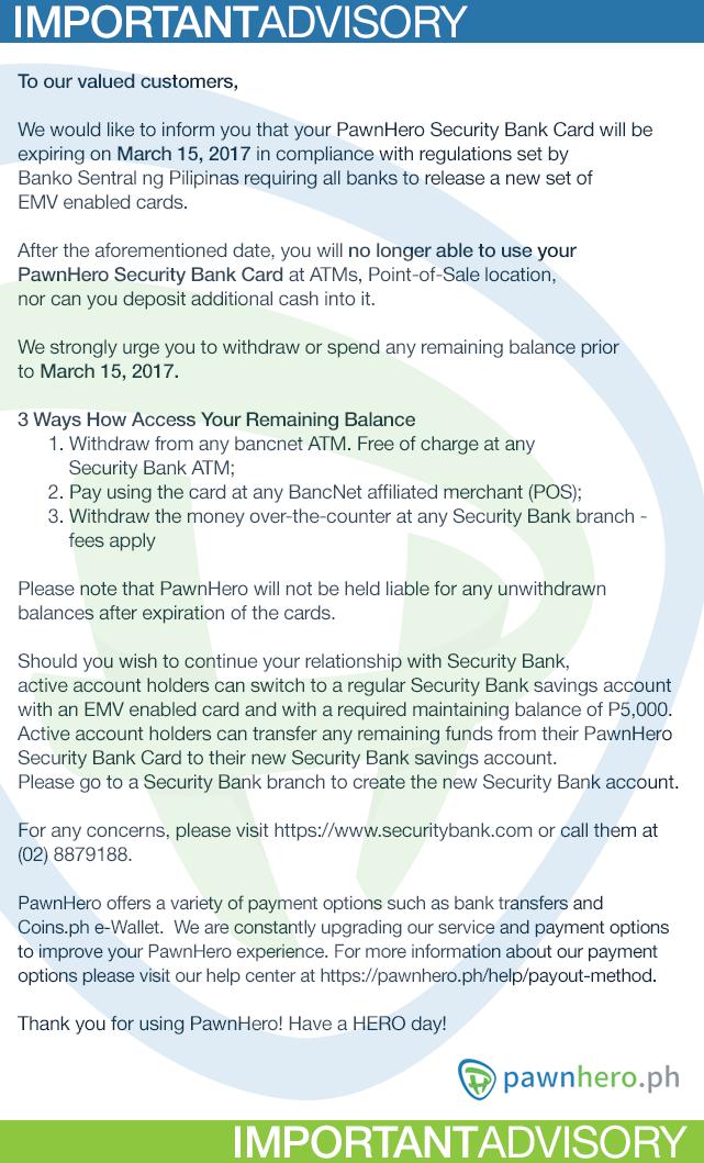 Web and NL - PH Card Advisory