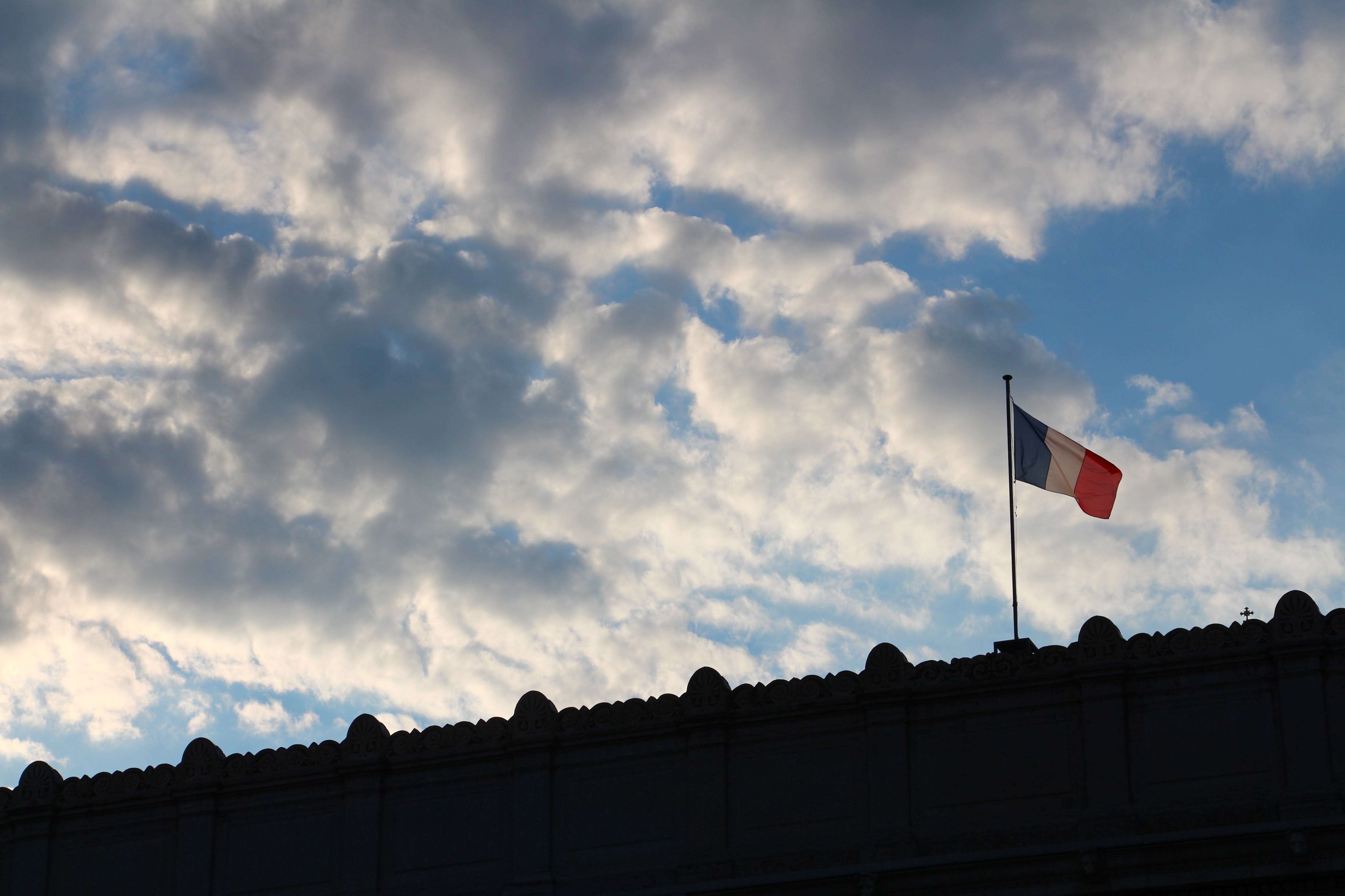 Flag on Lyon Skyline | France