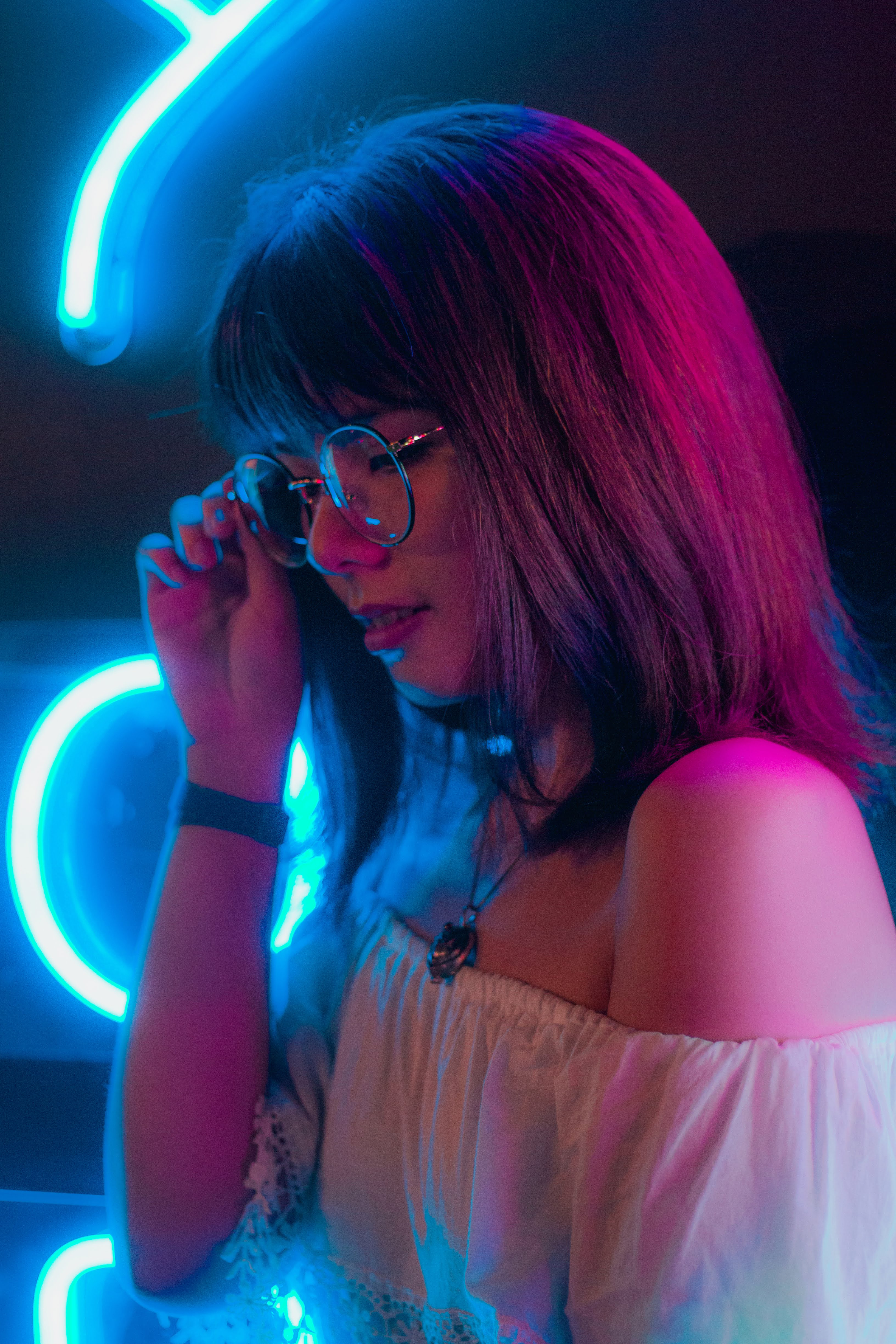 Girl Portrait on light installation   Prudential Carnival 2018   Singapore