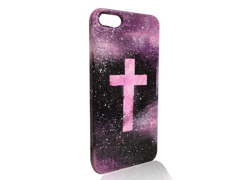 sweet4girls 独家 设计 手绘 手机壳 宇宙 星空 萤光十字架款 iphone图片
