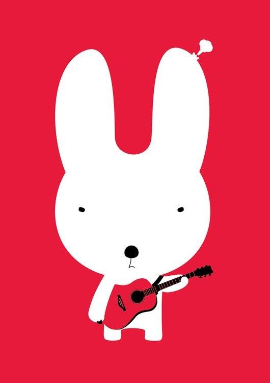设计明信片|吉他兔 - 设计师 hahahana - pinkoi