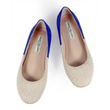 Brogue Ballet Flats W1042A Ivory Royal Blue