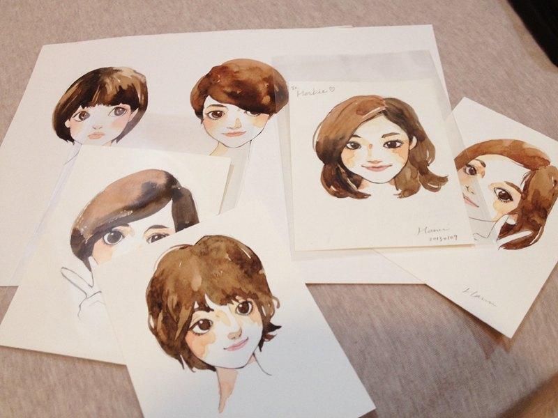 手绘水彩订制双人画像