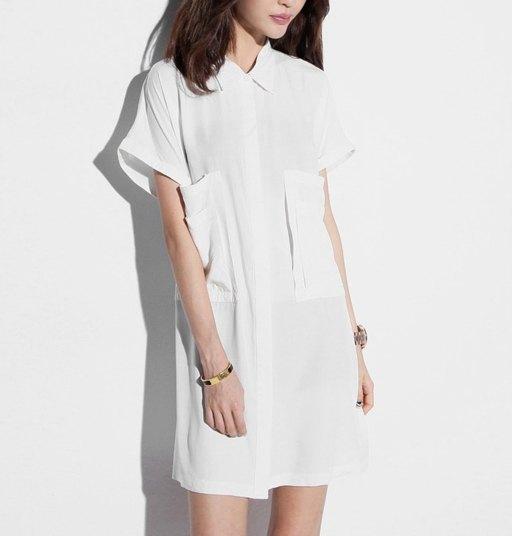 纯白口袋衬衣