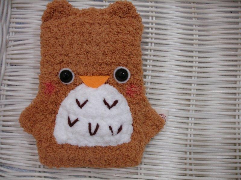 棉花糖动物手机袋-浅色猫头鹰