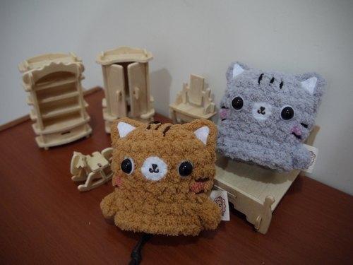 棉花糖动物钥匙包-小钥匙包(棕猫/灰猫区) - 设计师