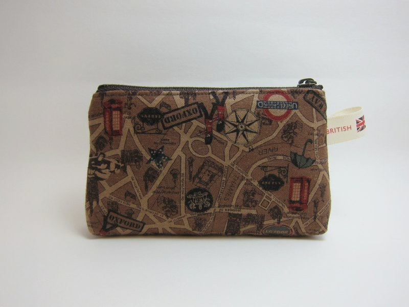 英伦风零钱包(咖啡色) - 设计师品牌 米色丝带