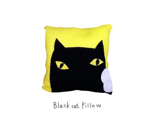 小黑猫手工抱枕