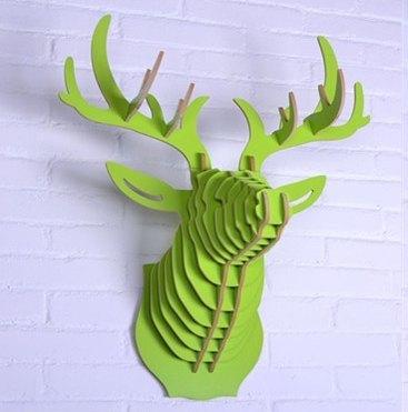 智慧生活▲ 绿色原木鹿头壁挂家饰图片