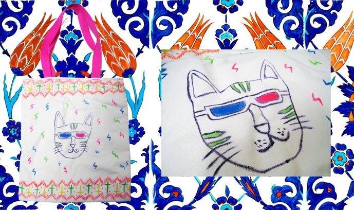 车缝手绘包 3d眼镜猫大哥