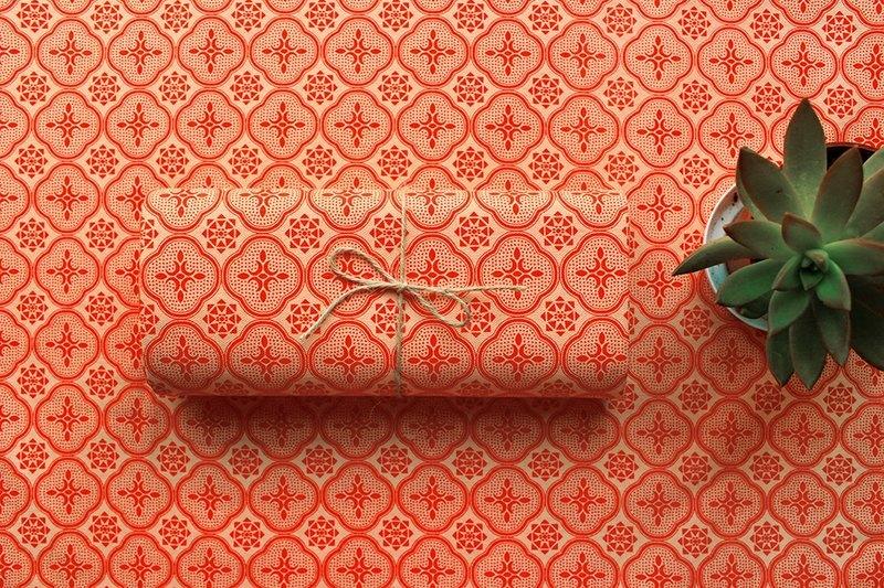 印花布料-玻璃海棠花纹/木瓜红色