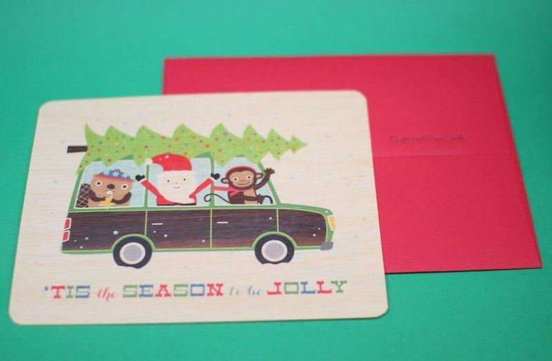 木制独特圣诞节卡片 耶诞老人与可爱动物