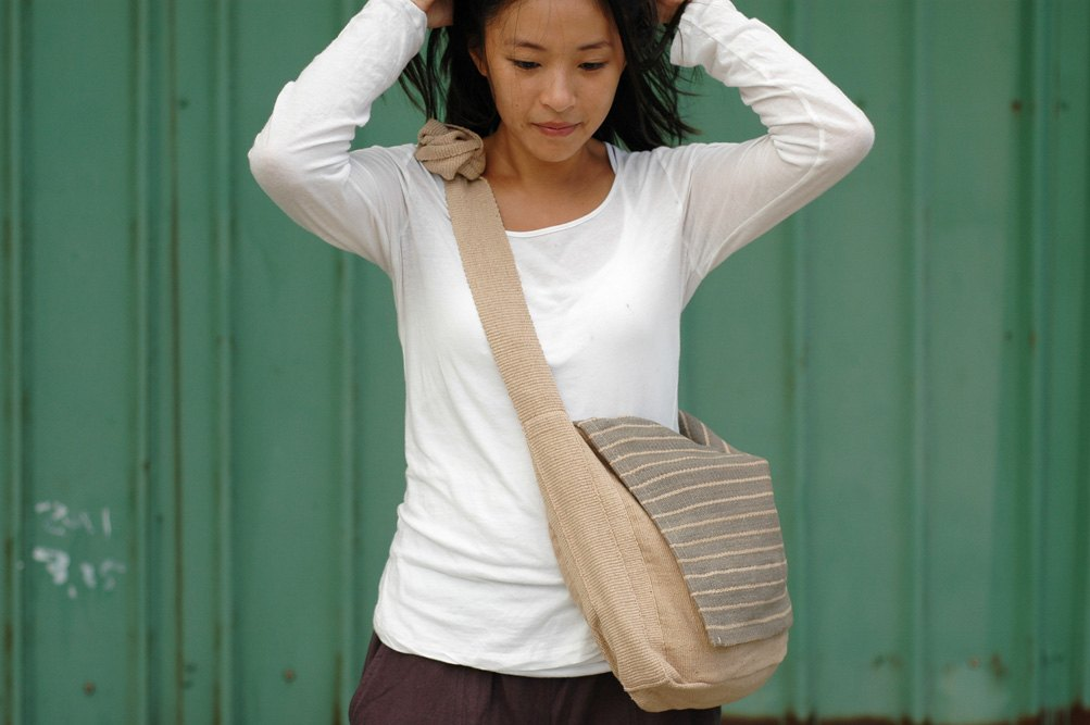 纯棉手织包-pramana书包-卡其