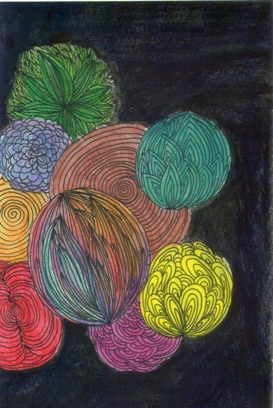 彩色花苞/手绘雾面卡片