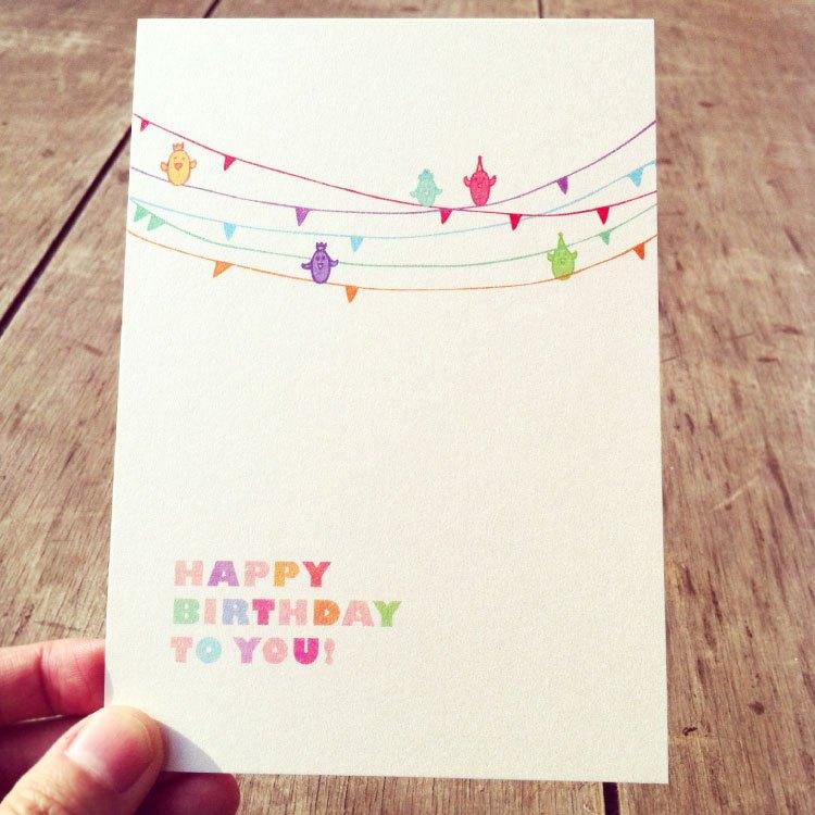 小鸟在五线谱上,为你谱一曲生日快乐歌⊙卡片