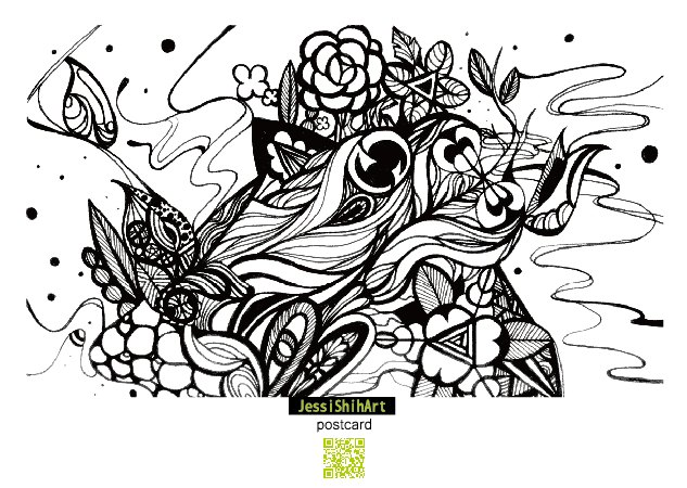 黑白手绘风明信片a003   设计师品牌 jessishihart