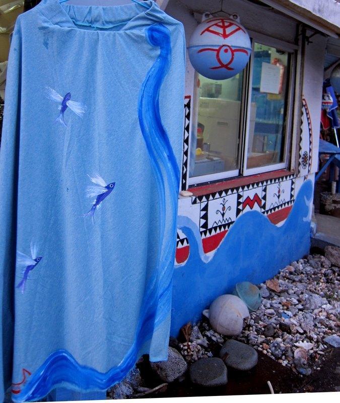 飞舞鱼裙(天空蓝)-winwing手绘长裙 - winwing / 翼想