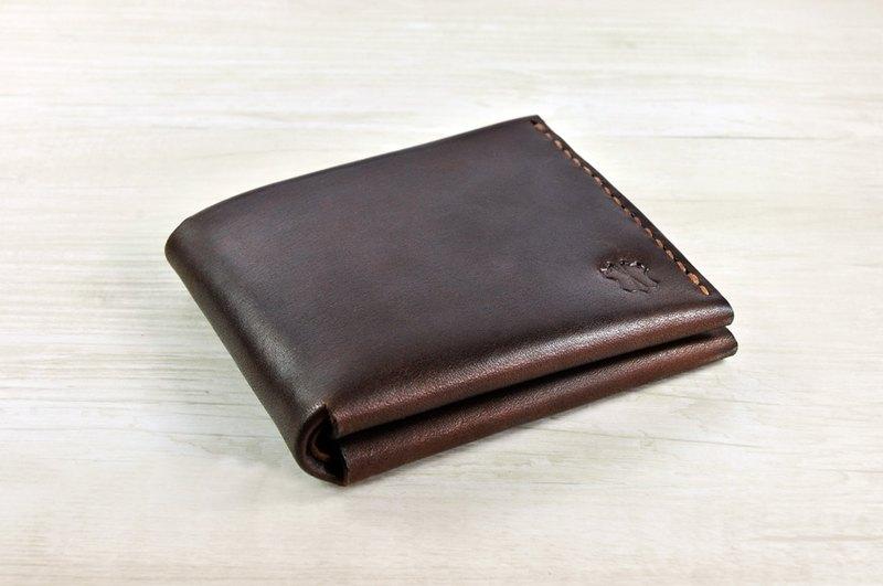 mico 手缝皮革短银包(焦茶) - 设计师品牌 mico
