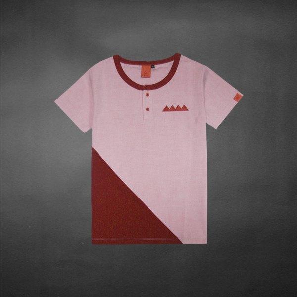 """""""h-zoo"""" 直角三角形拼接tee-就像制服一样! 淡红"""