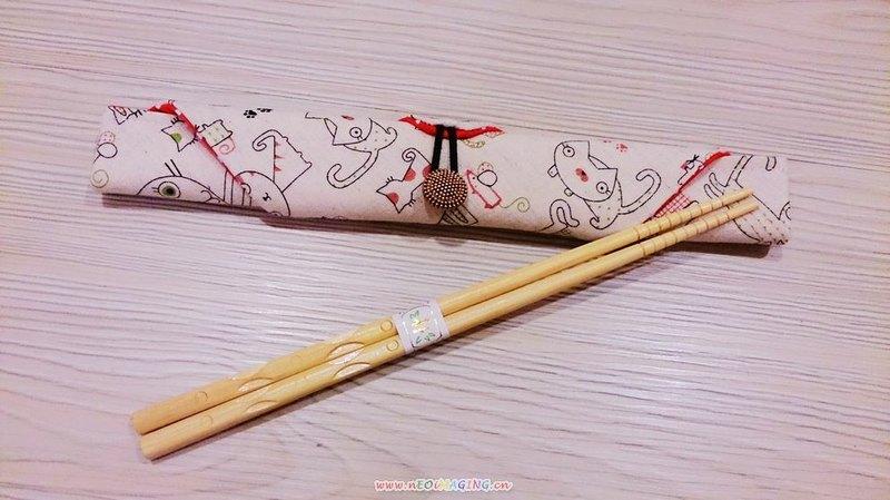 棉麻布 可爱俏皮猫咪风 环保筷子套 筷子袋