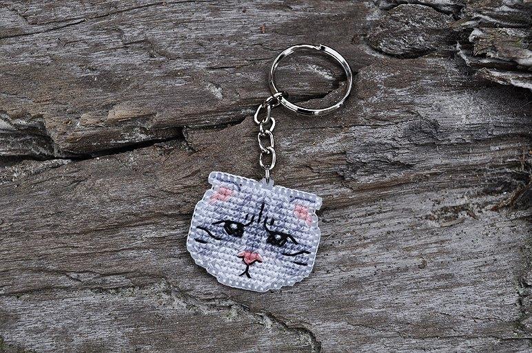 十字绣 钥匙圈 折耳臭脸猫款