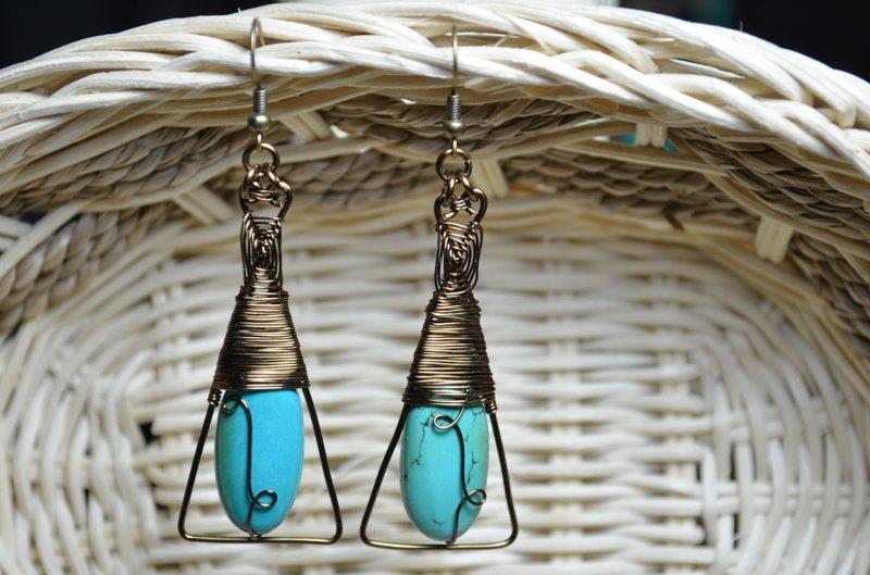 峇里岛风绿松石耳环-金属线/水晶/纯手工