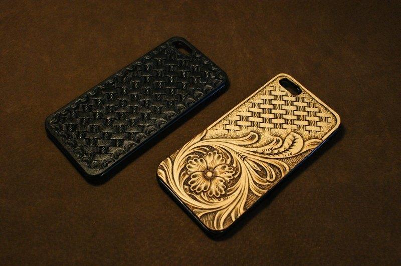 5皮雕唐草/编织手机壳
