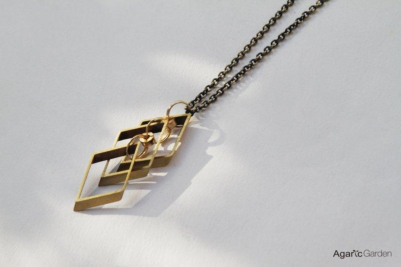 菱形几何黄铜项鍊 - 设计师品牌 agaric garden 艾